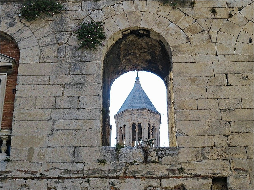 Split Tower Through the Arch