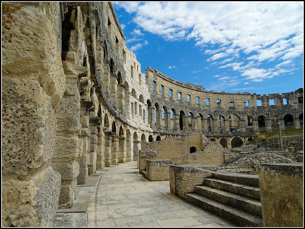 The internal walls of Pula's Arena