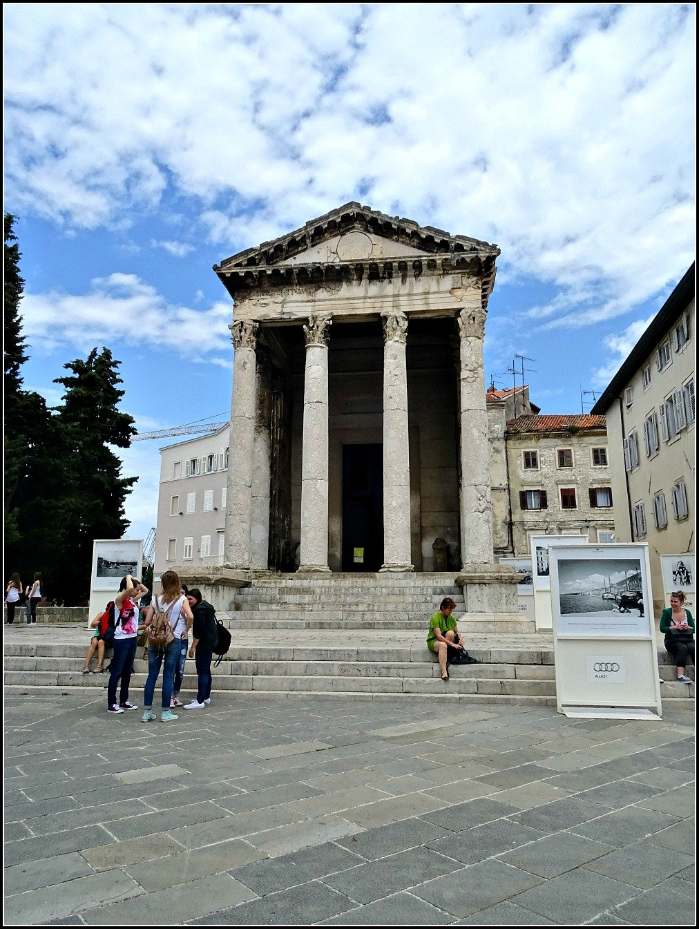 Pula Temple of Augustov the only Roman building left in the Town Square of Pula