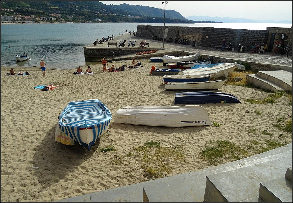 Cefalu Fishing Boat Harbour Beach