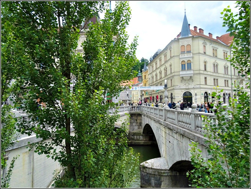 Angles of Triple Bridge in Ljubljana Slovenia