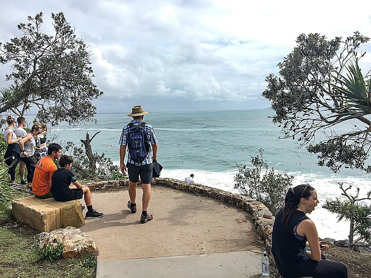 Photo of the concrete viewing platform at Dolphin Point with cloudy sky on an overcast day
