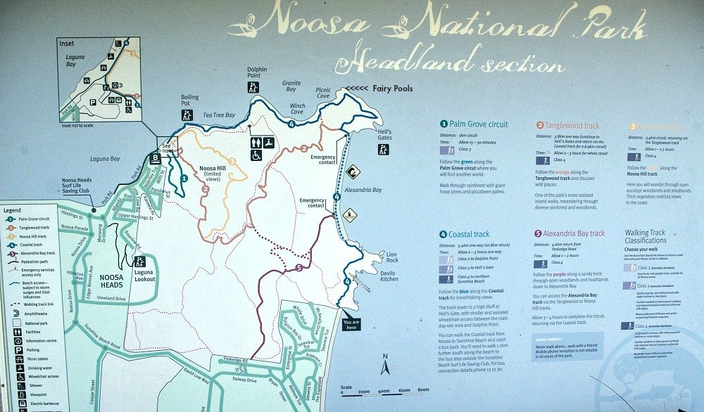 Noosa National Park Walk Map with Fairy Pool Location added