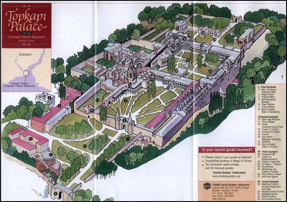 Topkapi Palace Views - a Map of the complex.