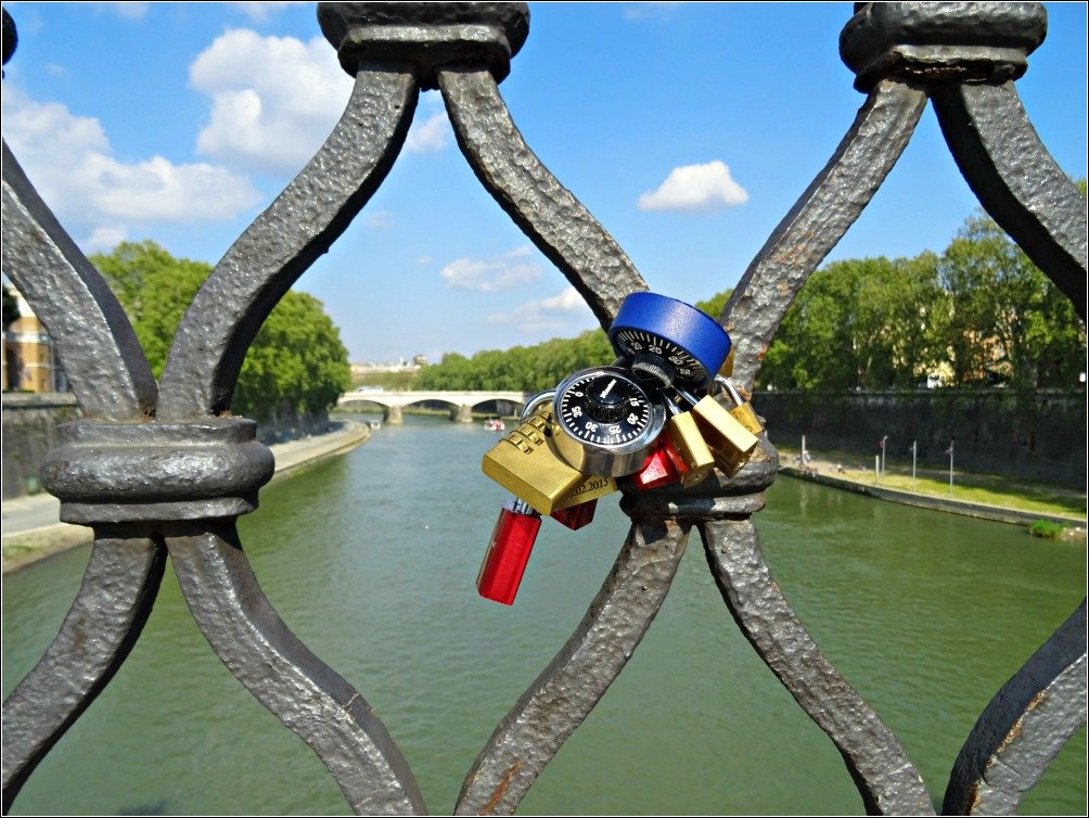 Locks of Love on Ponte Sant' Angelo Rome