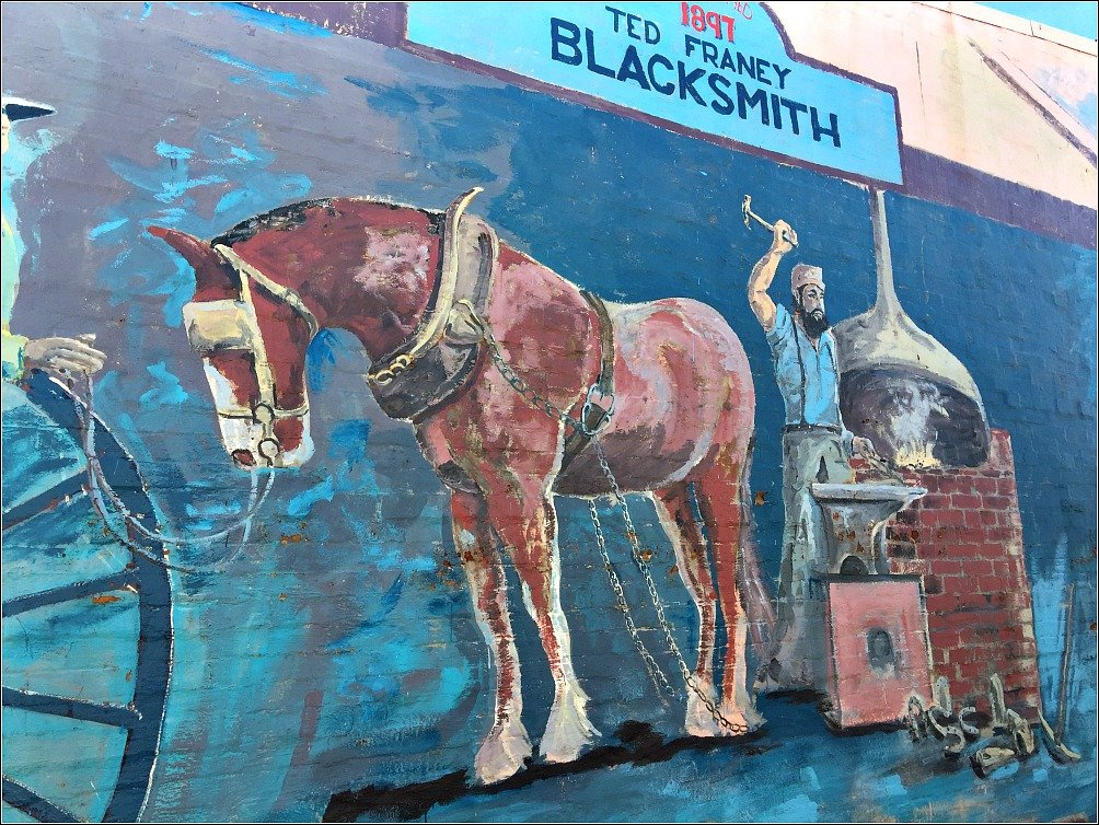 Blacksmith Mural Nanango Queensland. Tribute to Ted Franey the last Smithy in Nanango.
