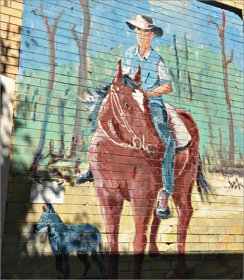 Former Mayor Reg McCallum Nanango Murals. Mustering the hill paddocks by horse.