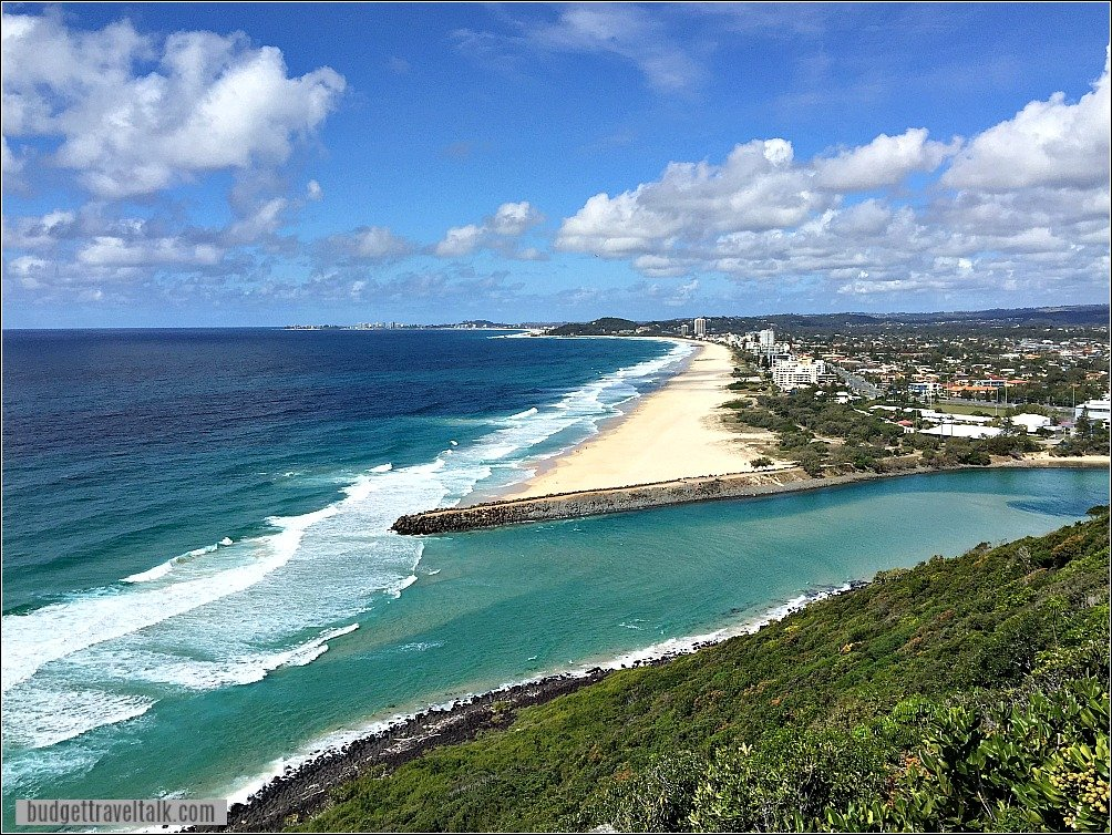 Burleigh Heads National Park looking south over Tallebudgera Creed and Beach