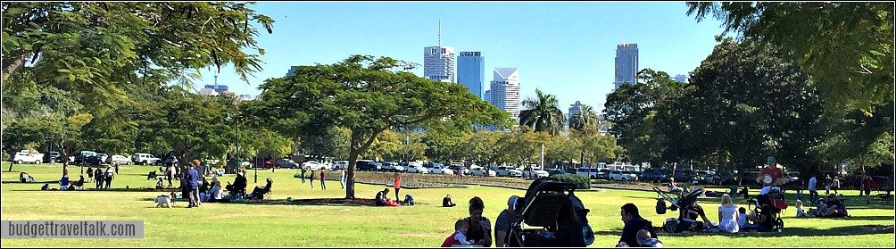 New Farm Park with Brisbane City in the background
