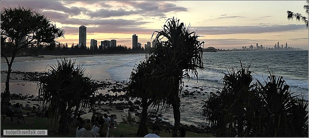 Sunset Skyline from Burleigh Headland on the Gold Coast Queensland on trip from Coffs Harbour to Brisbane