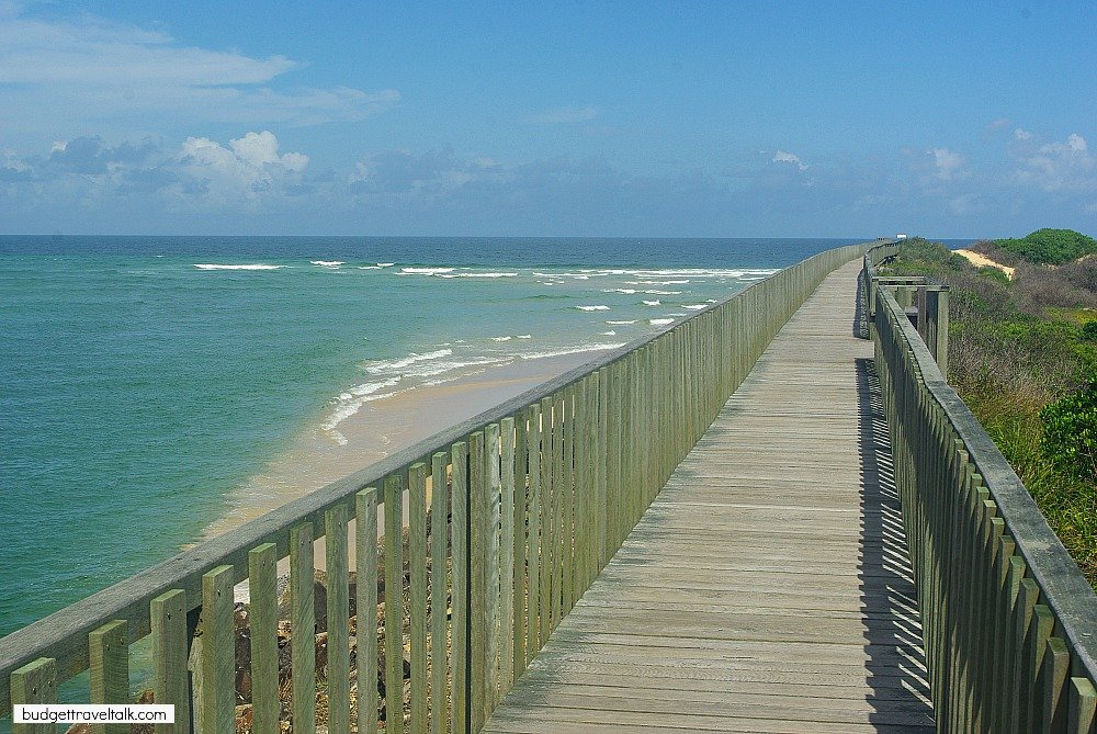 Urunga Boardwalk meets the ocean north of Hungry Head