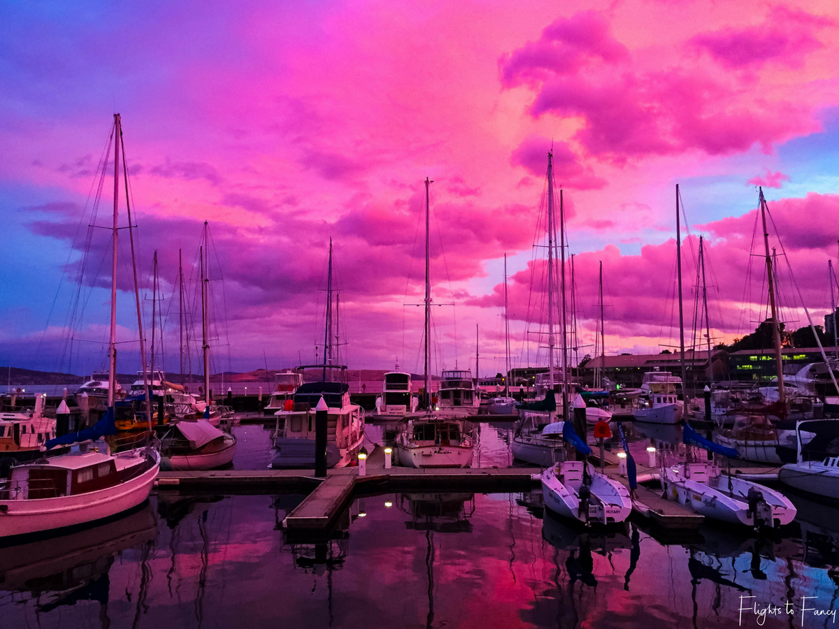 Flights to Fancy - Hobart Harbour Pink Sunset