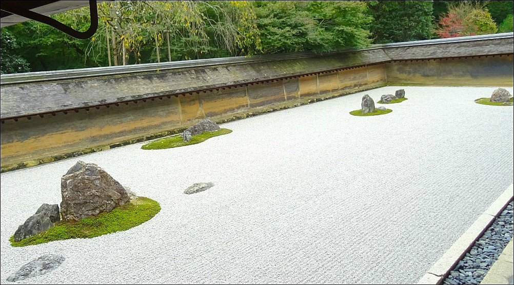 Ryoanji Zen Garden raked perfection