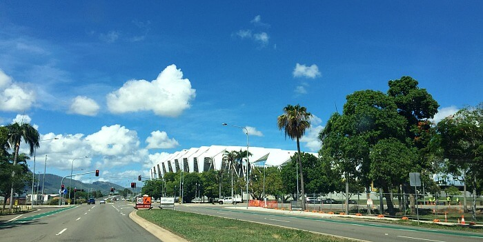 The new white Queensland Country Bank Stadium against blue skies in Townsville North Queensland