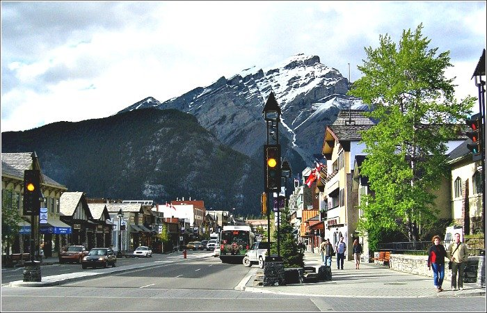 Banff Avenue Scene in Banff Town in the Canadian Rockies