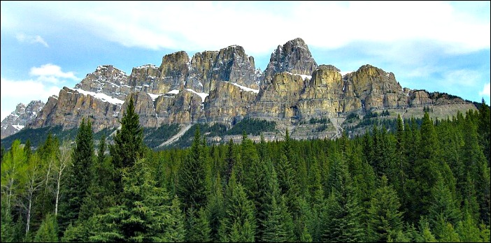 Castle Mountain on Bow Valley Highway on the Banff to Jasper Road Trip