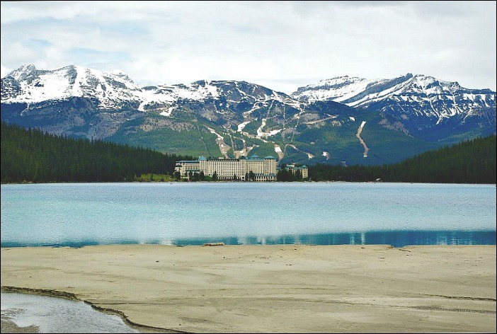 Chateau Lake Louise taken from the far end of Lake Louise