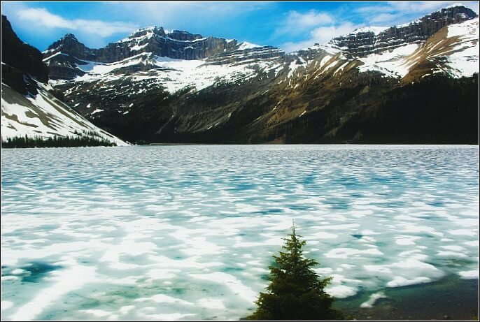 Bow Lake on the Banff to Jasper Road trip was melting in the first week of June