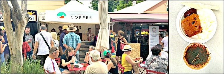 Eumundi Markets Coffee Stall with people sitting at tables and chairs in the sunshine