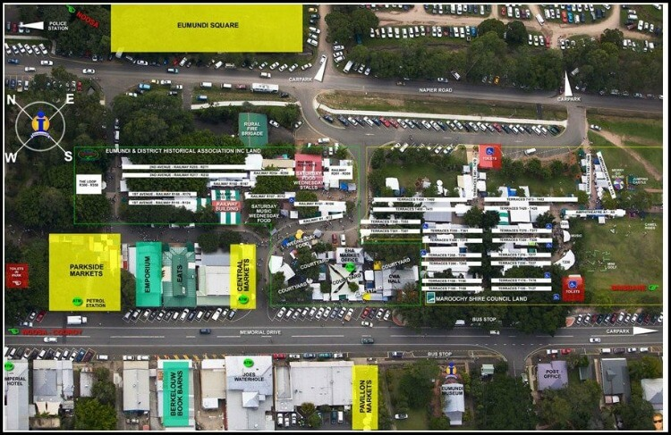 Overhead shot of Eumundi Markets Stalls marked with different markets and amenities