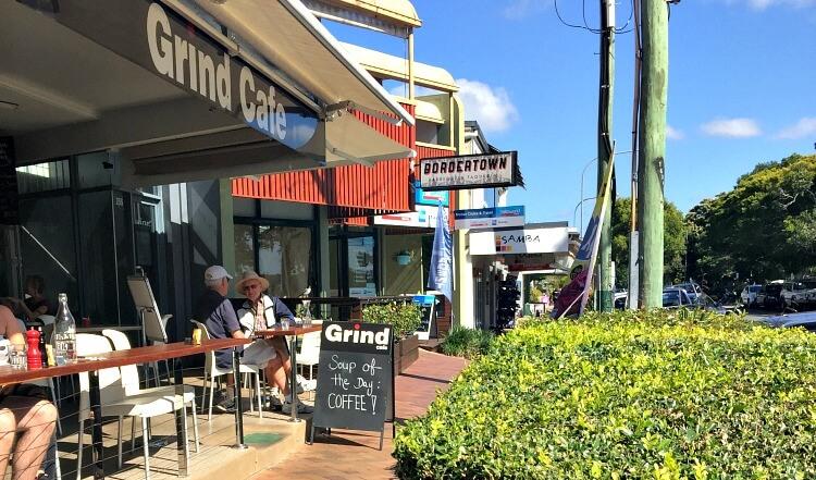 Outside Terrace of Grind Cafe overlooking Gympie Terrace Noosaville