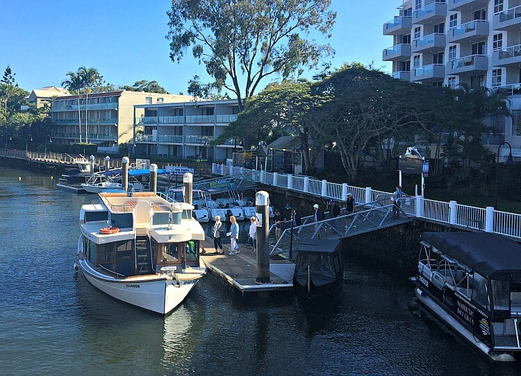 Looking down from the bridge to Noosa Ferry moored at Stop 7 at the Sofitel