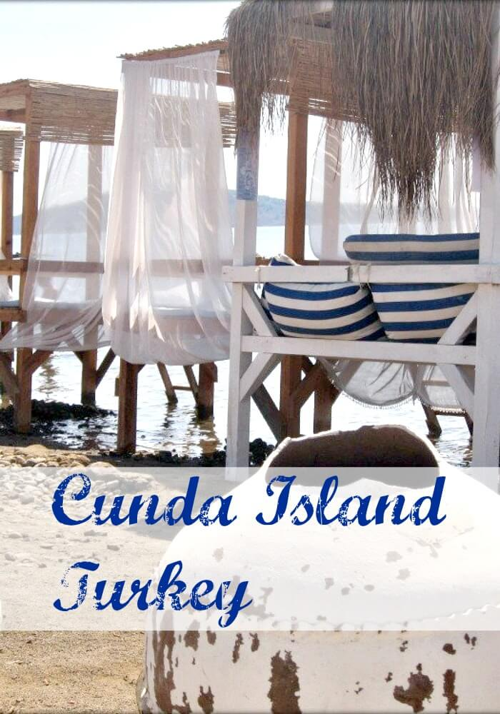 Thatch Roofed Over Water Day Bungalows on Cunda Island Turkey