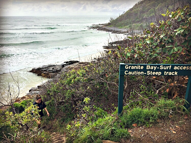 National Parks Sign and Access track to Granite Bay on the Noosa Headland