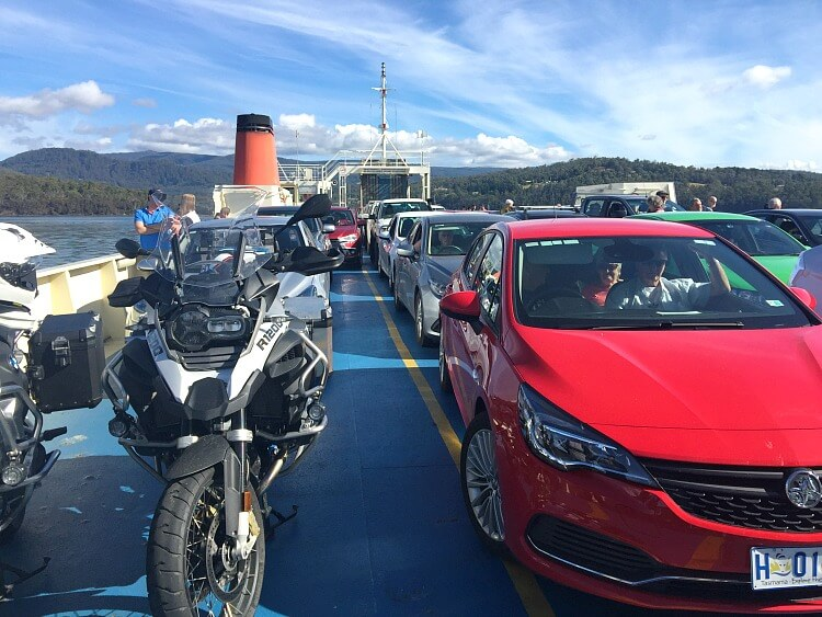 Cars on the top deck of the Bruny Island Sealink Ferry