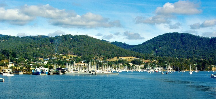Kettering Boat Harbour with sailing boats and ferry Tasmania taken from the Ferry.