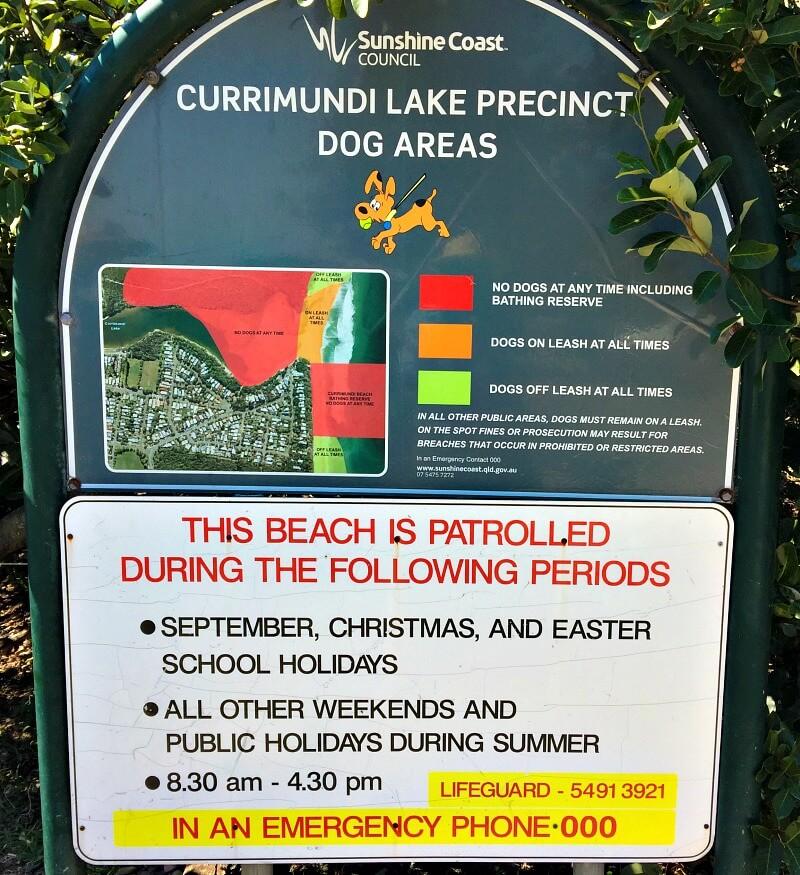 Dog Areas Sign at Currimundi Lake Sunshine Coast