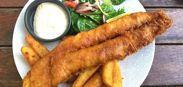 Golden beer battered flathead with chips and salad at Grape Hobart