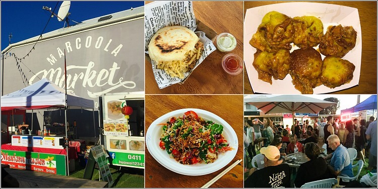 Collage of Marcoola Market with Food Vans, Food and Market Goers