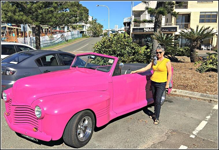 Pink Vintage Car at Moffat Beach Caloundra