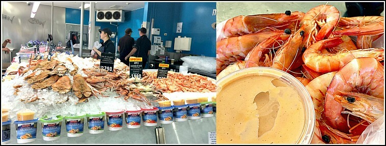 Fish Prawns and Crabs on ice at Mooloolaba Fish Market and Prawns and Cocktail Sauce for lunch