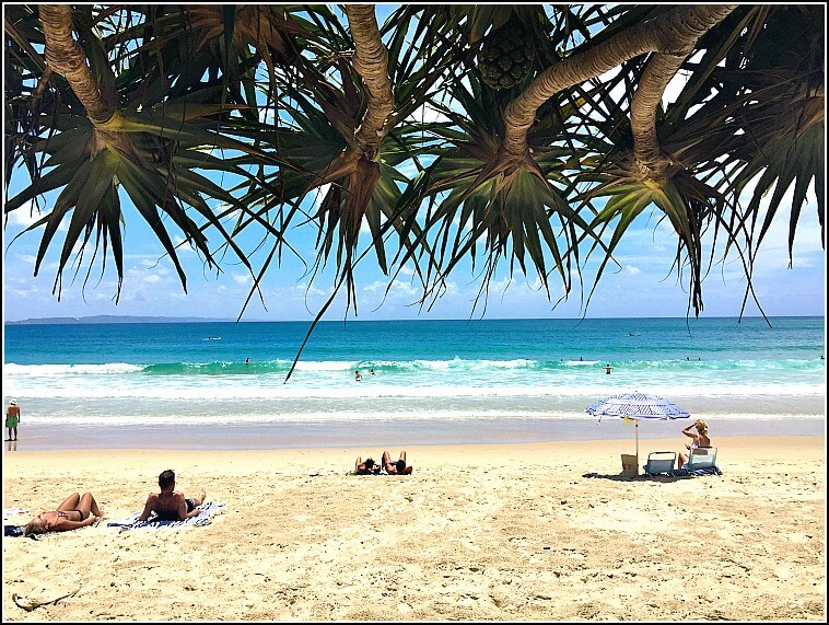 Noosa Main Beach with Fraser Island in the background