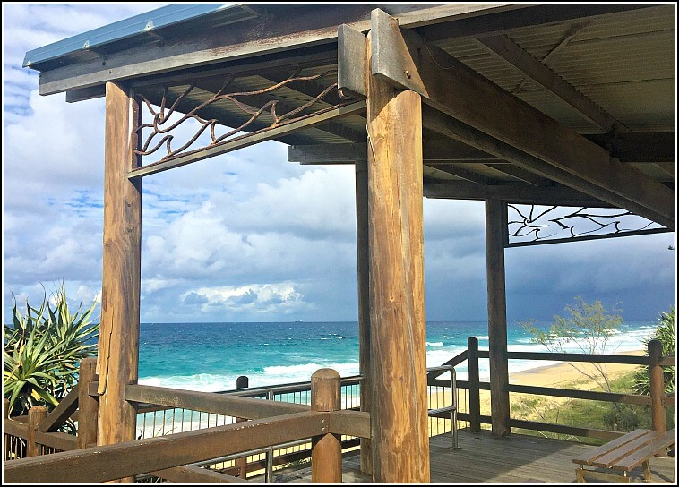 Looking down to Point Cartwright Beach through shelter