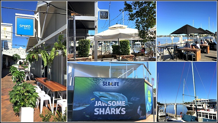 A collage of photos from The Wharf Mooloolaba including boats restaurants and aquariums
