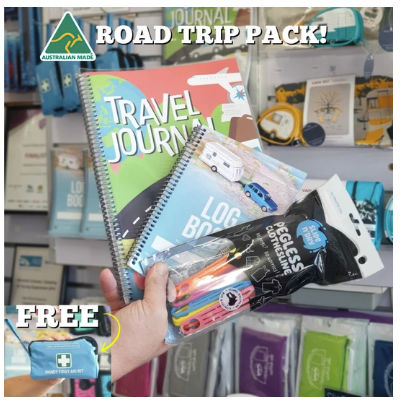 Australian Road Trip Pack with journal planner pegless clothes line and first aid kit