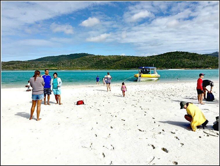 Ocean Rafting Boat at Hill Inlet on Whitehaven Beach on Whitsunday Island Australia