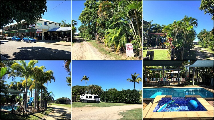 A collage of the free campground at the back of Halifax Hotel Queensland