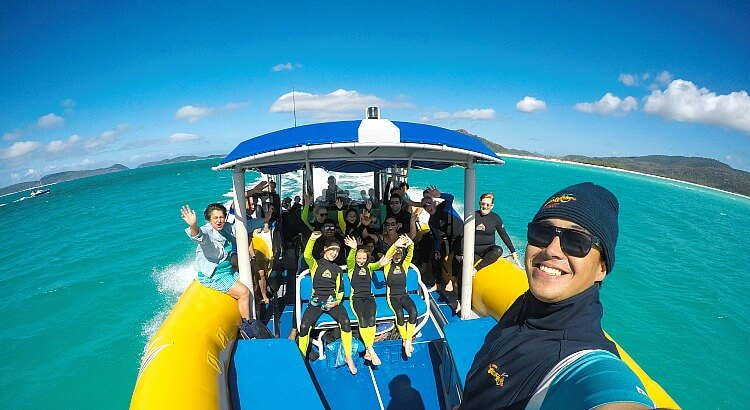 These are the passengers and crew on our Ocean Rafting Boat to Whitsunday Island