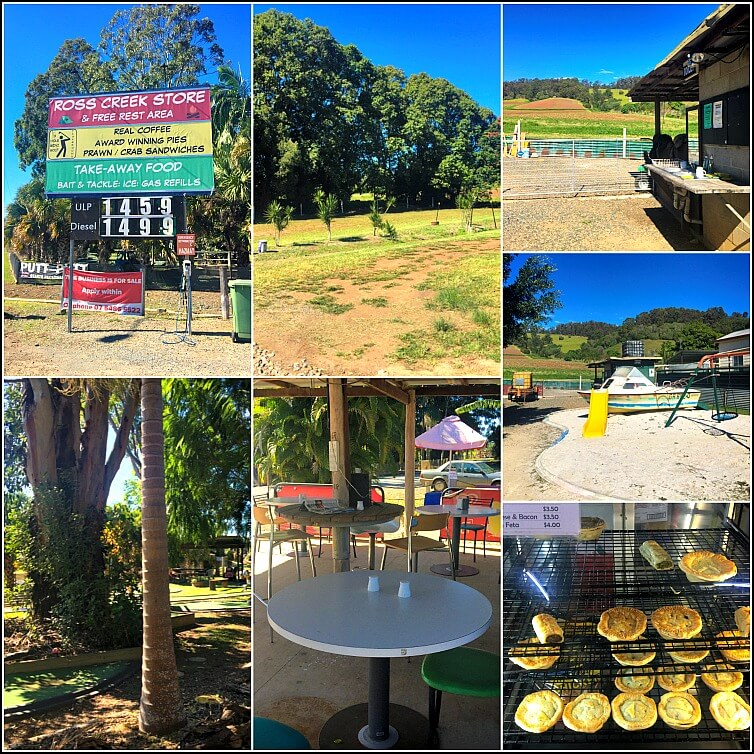 Collage of Free Camping Queensland at Ross Creek Store Tin Can Bay