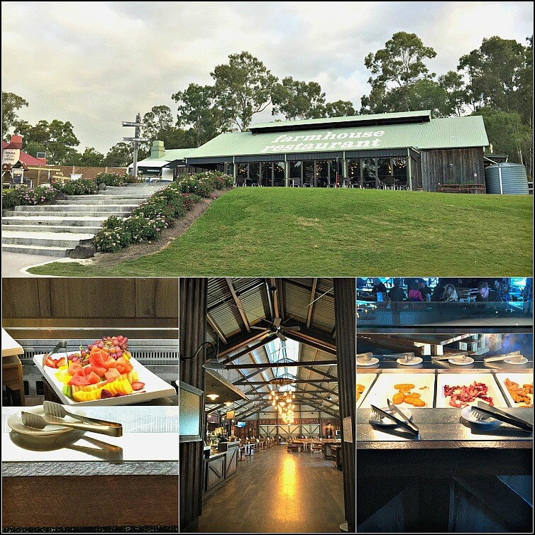 Collage of Interior Exterior and Buffet at Farmhouse Restaurant
