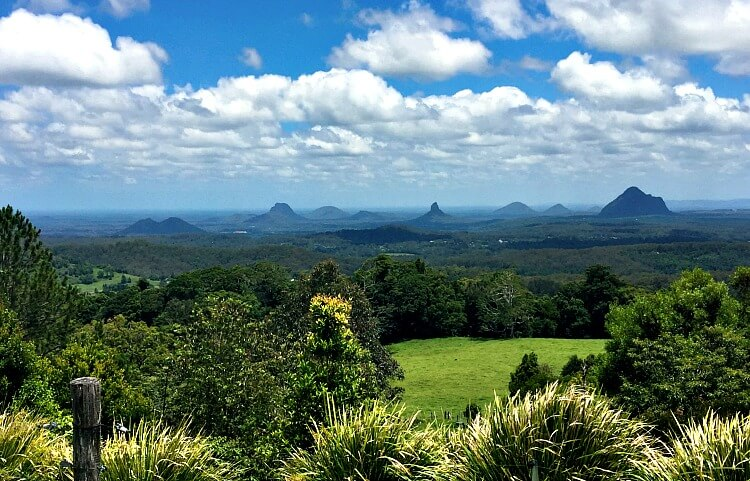 view of Glass House Mountains from Mary Cairncross Scenic Reserve