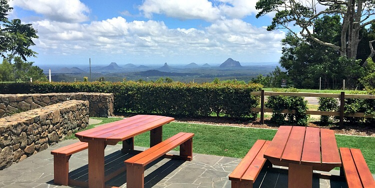 Mountain View Cafe and the Glass House Mountains