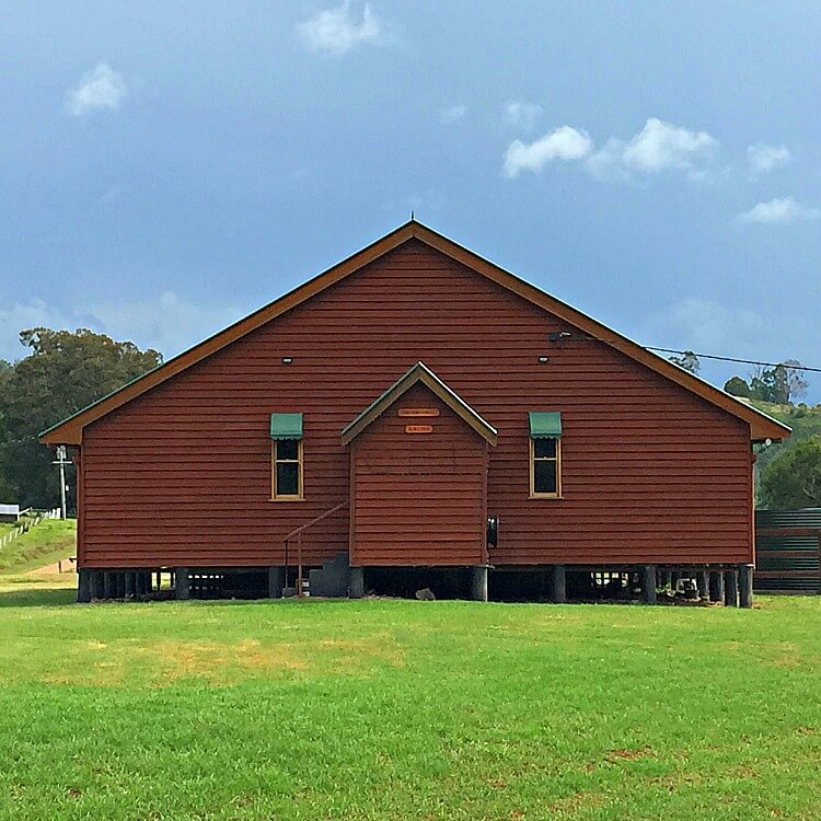 The red timber Obi Obi Community Hall in the Sunshine Coast Hinterland
