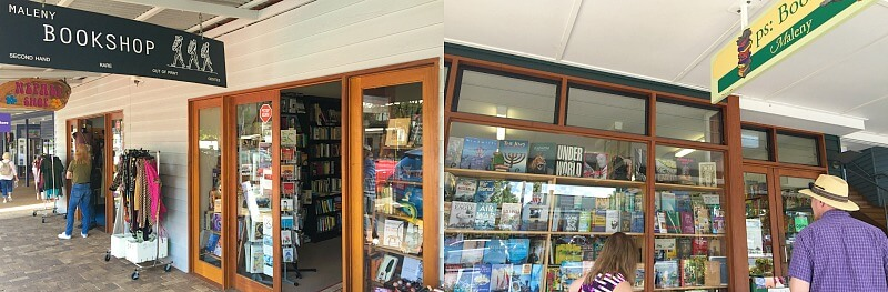 Two Book Store Shopfronts in Maple Street Maleny on the Sunshine Coast Hinterland