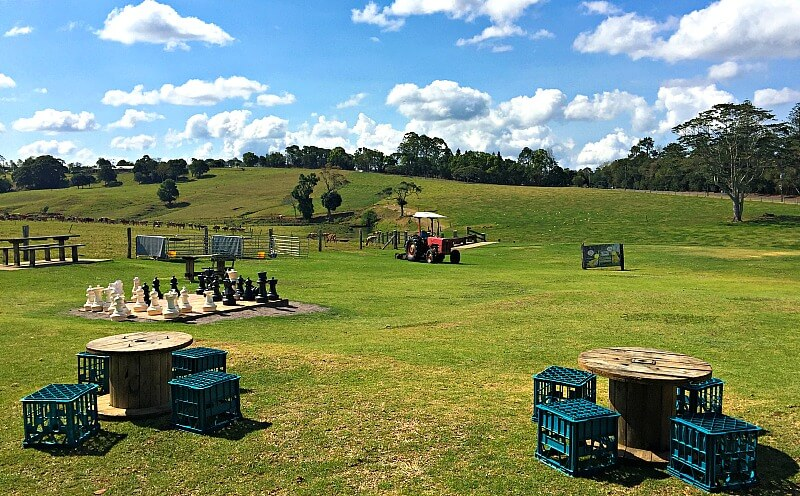 Grassy Picnic area at Maleny Dairies Sunshine Coast Hinterland