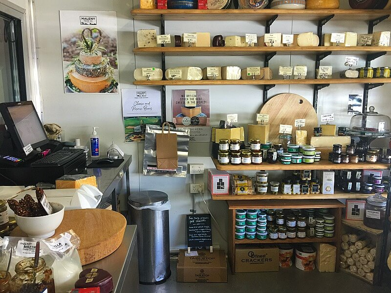 Cheese and Bottles of preserves in Maleny Food Co. Fromagerie